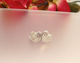 Diamond Hearts - Fine silver post earrings with 3mm cubic zirconia