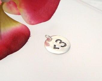 Heart emoticon fine silver charm