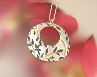 Vines - Round Fine Silver Pendant