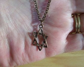 Copper Star of David Necklace