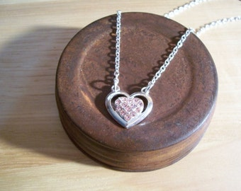 Beautiful Pink Genuine Crystal Heart Necklace and FREE Earrings