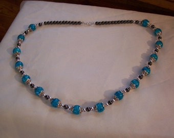 Blue Crystal Beads and Black Magnetic Hematite Bead Necklace