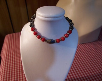 Magnetic Hematite and Red Oxblood Bead Bracelet