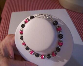 Black and Fushia Magnetic Bracelet