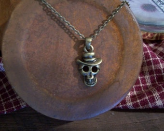 Antique Brass  Skull Necklace