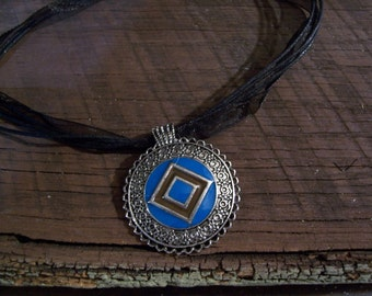 Scalloped Circle Pendant with Ribbon Necklace