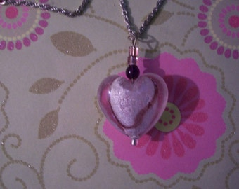Heart Necklace -  Beautiful glass heart with frosted white and burgundy stripes