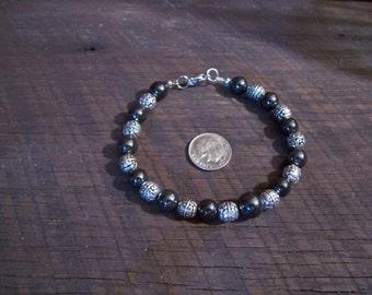 Black and Silver Magnetic hematite Bracelet