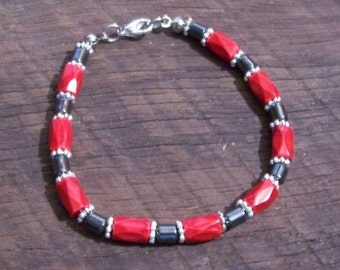 Black and Red Magnetic Hematite Bracelet - 7 inches long