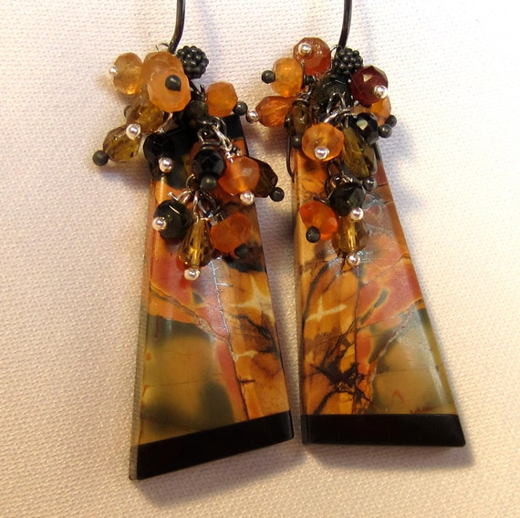 Multicolored Picasso Jasper and Obsidian Intarsia Earrings