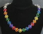 Rainbow Pride Barrel Weave Necklace