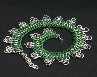 Green Chainmail Triangle Necklace