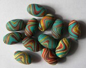 Psychedelic Turquoise - 12 polymer clay oval beads
