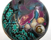 Polymer Clay Pendant - Shell Garden - Hand Crafted