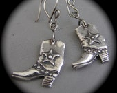 Get Yur' Boots On, Honey - Earrings in Recycled Silver on Hooks or Clip backs