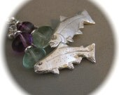 Glorious Trout Earrings - Recycled Silver with Fluorite Nuggets - on Ear Hooks or Clips
