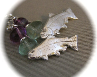 Glorious Trout Earrings - Recycled Silver with Fluorite Nuggets