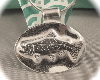 Trout Pendant in Recycled Silver on Sterling Chain - May Be Personalized