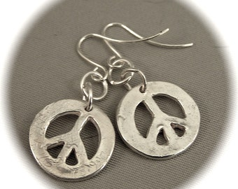 PEACE Sign Earrings - Recycled Silver
