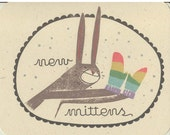 Set of 3 Gocco Cards- New Mittens