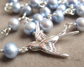 Return to me - freshwater pearl and sterling silver bird necklace and earring set