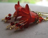 Passion - Wine red floral and brass filigree earrings