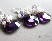 50% off sale  Freshwater pearl, Purple Zircon, Cubic Zirconia and sterling sliver necklace and earring set