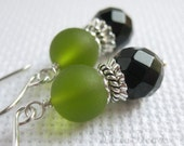 50% off clearance sale Duets - Green glass and Black onyx gemstone sterling earrings