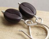 Dark Roast - Coffee bean and sterling silver dangle earrings