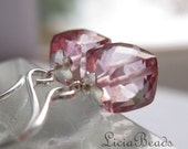 Love Cubed - Pink mystic Quartz cube beads on sterling