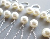 5 Bridesmaid Jewelry gift sets in sterling silver and pearl necklaces and earrings , choose your color (cream shown)