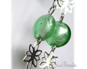 50% off clearance sale Mint Seedlings  sterling and glass earrings