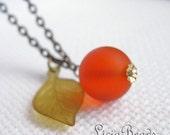 Holiday Gift Sale Heirloom - Fruity orange dangle necklace