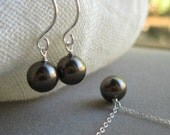 Bride in Pearls - necklace and earring set in Brown, custom colors available