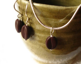 Dark Roast - Coffee bean pendant necklace and matching earrings