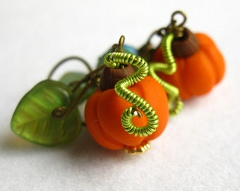 Orange Pumpkin and green leaves - thanksgiving and halloween holiday novelty dangle earrings, limited