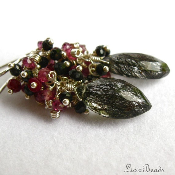 Ruby, Garnet and Spinel clusters over Tourmalinated Quartz, sterling silver