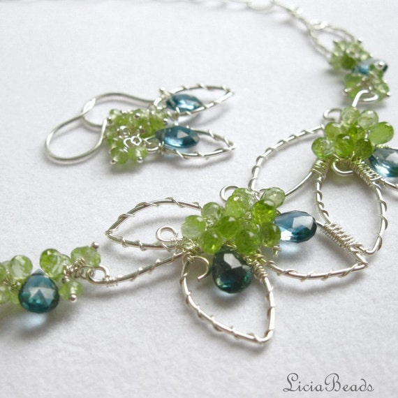 London Garden - London Blue Topaz, Peridot and sterling silver wirewrapped necklace