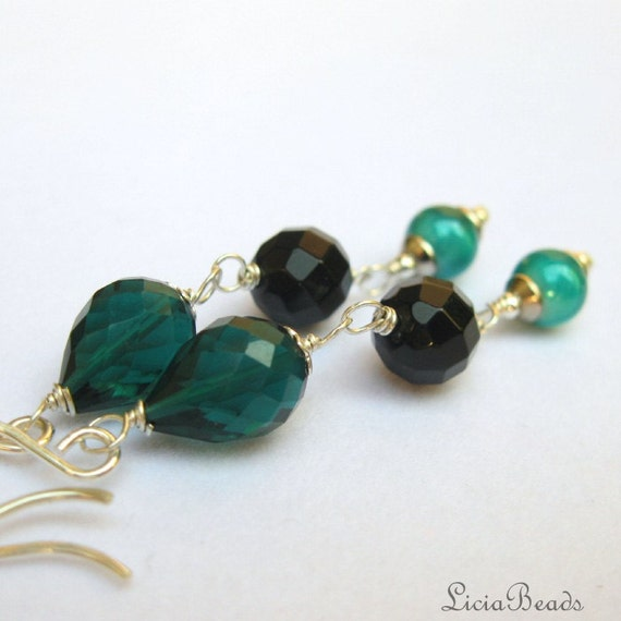 50% clearance Sale Ocean Cavern - Deep teal quartz, black onyx and miracle bead dangles
