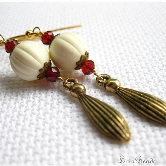 Elizabeth  - garnet antiqued brass earrings