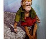 Digital Print Monkey Toy  Wall Art Illustration Vintage