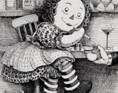 Digital Print Pen and Ink Raggedy Anne All Grown Up I Love NY Weird Ironic