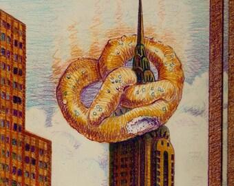 NY City Digital Art Print Illustration New York NYC Pretzel  Chrysler Building