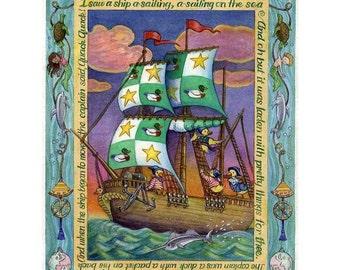 Childrens Kids Digital Wall  Art Poster Sailing Ship Print