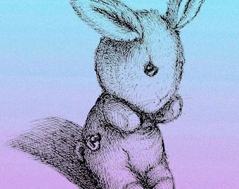 Wall Art Print Childrens Illustration Bunny Rabbit  Pen and Ink