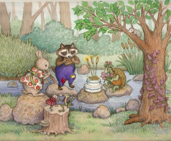 Forest AnimalsChildrens Wall Art Print Kids Digital Woodland Party