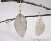 Sterling Silver Real Leaf Earrings with Sterling Silver Ear Wires - ER001 - Yoonique Designs