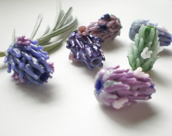 Baby Blooming Lavender Glass Bead You Pick a Color with French Lavender Sachet Buds