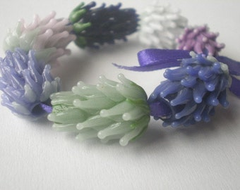 Lavender Glass Bead Set, Handmade, Supplies, Jewelry Making, Purple Lavender Sachet Buds, Dried Lavender Flowers,