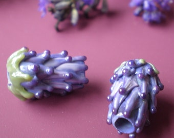 Lavender Glass Bead Small Size in Purple Rose with French Lavender Sachet Buds